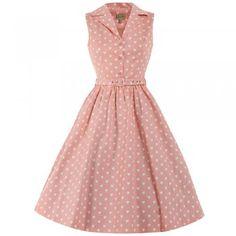 Matilda Pink Heart Print Shirt Dress   Vintage Dresses - Lindy Bop