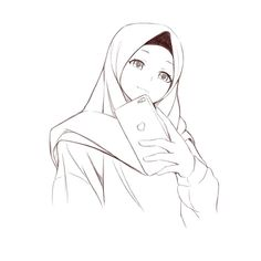 Hijab Drawing, Nose Drawing, Cute Cat Drawing, Girl Drawing Sketches, Girl Sketch, Girl Drawings, Drawing Tips, Cartoon Drawings, Cartoon Art