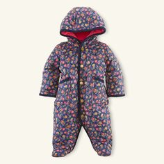 RALPH LAUREN - $89.00 This cozy diamond-quilted barn bunting features a pretty floral pattern, a warm fleece-lined hood and preppy corduroy trim. Fleece-lined hood. Corduroy-trimmed three-snap placket. Long sleeves with corduroy-trimmed cuffs. Patch pockets at the hips. Footed silhouette. Fully lined and filled. Our signature embroidered pony accents the left chest. Shell, trim, fill and lining: 100% polyester. Machine washable. Imported.