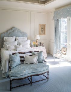 Blue and white is such a timeless and classic combination, and it can turn any bedroom into a soft and serene oasis. Add a canopy, corona, o...