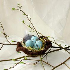 Felted Easter Eggs in Bird Nest/ Handmade Easter by katinytis