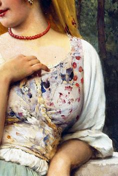 Traveling through history of Art...A Pensive Beauty, detail, by Eugene de Blaas (1843 - 1931).