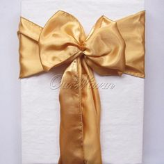 "Fashion Gold 6""x108"" Satin Chair Cover Sash for Wedding Event Party Supply Professional Decoration Products"