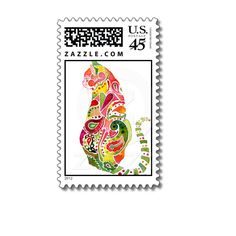 Paisley Cat Postage Stamp Design from Zazzle.com