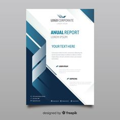 White brochure with blue and gray wavy lines Vector Brochure Cover Design, Graphic Design Flyer, Free Brochure, Business Brochure, Brochure Template, Magazine Cover Template, Cover Page Template, Business Flyer Templates, Flyer Design Templates