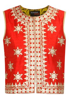 Red kasab embroidered jacket available only at Pernia's Pop-Up Shop. #festive #designer #fashion #HappyShopping #love #shopnow #brightcolours #surabhiarya