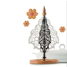 Dressed for X-mas Tabletop Christmas Tree by Marcel Wanders for Alessi Tabletop Christmas Tree, Alessi, Christmas Design, Marcel, Objects, Ceiling Lights, Create, Stainless Steel, Dresses