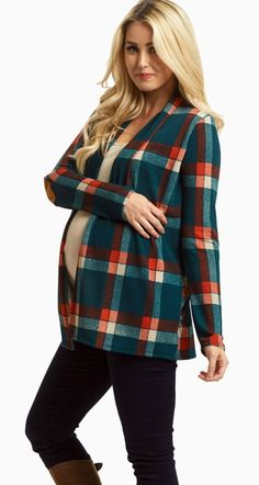 This plaid open maternity cardigan is perfect for fall layering this season. Not only will this plaid maternity cardigan keep you from the cold, but it also stands out from the rest with an elbow patch detail. Wear this maternity cardigan over any basic cami or tee for a complete look.