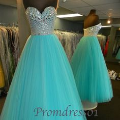 prom 2015, cute sweetheart strapless beaded green tulle prom dress for teens, ball gown, evening dress #promdress #coniefox #2016prom