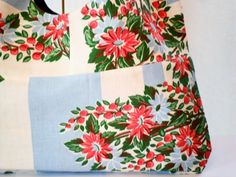 Vintage Fabric Cheery Red Floral Market Tote by AdeleBeeAnn, $15.00