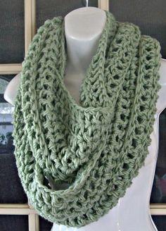 sage green cowl infinity scarf neckwarmer. $24,00, via Etsy.
