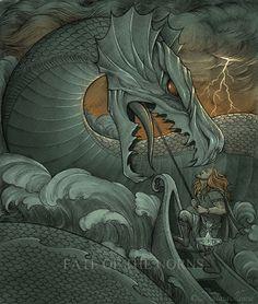 natasailincic:  Thor in Hymir's boat, catching Jormungandr, the Midgard Serpent. Ink, watercolour, PS.For the upcoming book The Illuminated Edda.[Facebook • DeviantArt • Blogspot]© Nataša Ilinčić, please do not remove credits