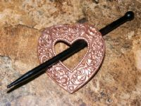 Floral Antique Heart Victorian Brass Shawl Pin, Rose Ox Finish