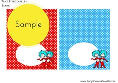free dr seuss thing 1 thing 2 twins party printable  baby shower birthday labels