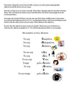 Ser Acrostic Directions and Sample.docx de español, teach spanish, spanish project, spanish class