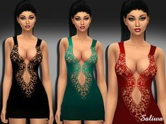 The Sims Resource: Night Beauty Dress by Saliwa Sims 1, Sims 4 Mods, Beautiful Lips, Beautiful Dresses, Maxis, Sims 4 Clothing, Female Clothing, Sims 4 Game, Sims Resource