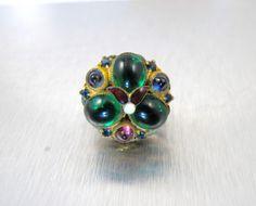 Austro Hungarian Ring Enamel Poured Emerald by TonettesTreasures