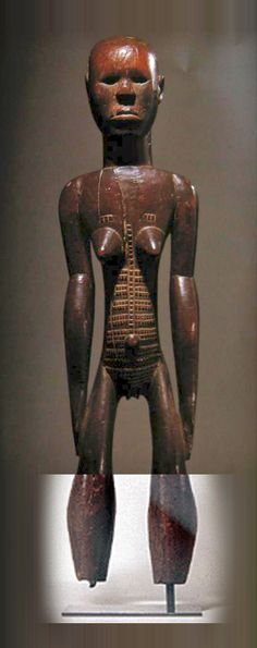 Sotheby's - Lot 232 (1999) sold 466,117 GBP ($ 775,000) - A rare Central, or Eastern African, possibly Nyamwezi, female figure, 32 1/2 inches high, shown below. Photoshop reconstruction using two different scans from web resources to complete the missing lower legs whilst conserving high resolution details. http://www.thecityreview.com/s99tribs.html