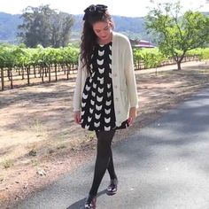 Bethany Mota Dress with cardigan, tights, and Oxfords Outfit <3