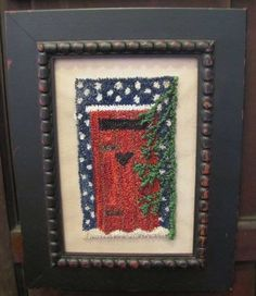 Winter Privy punch needle pattern by Nancee at Flew the Coop using Valdani threads!  https://www.etsy.com/listing/83786798/primitive-punch-needle-winter-privy?ref=shop_home_active_72