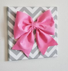 Large Pink Bow on Gray and White Chevron 12 x12 Canvas by bedbuggs, $34.00