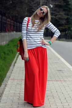 H Striped Top, No Name Red Maxi Skirt, Donna Tašne Red Bag - I could really use a wish right now... - Marina Arnaut