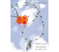 A summer kit from Bijoux Beads containing all the pieces needed to make the necklace on the front cover Leaf Necklace, Beaded Necklace, Bead Jewellery, Shells, Jewelry Making, Wreaths, Kit, Beads, Beaded Collar