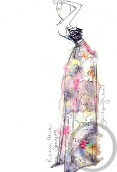 Fashion illustration with watercolor