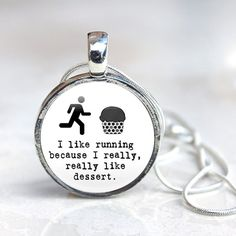 Runner Necklace, Glass Pendant Necklace, cake running quote, Joggers Jewelry, runner quote necklace, marathon runner Gift for Runner on Etsy, $21.90