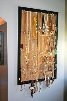 Cork Board jewelry organizer.