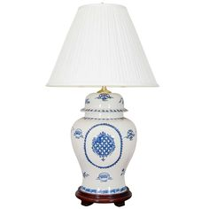 20th Century Blue and White Porcelain Temple Jar Lamp | From a unique collection of antique and modern table lamps at https://www.1stdibs.com/furniture/lighting/table-lamps/