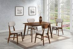 . Express your retro side with this table and chair set . Solid wood table and comfortable chairs showcase angled out legs and deep curved backs finished in chestnut . Retro style at a great value . Choose from two chair styles