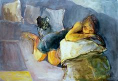 Girl Sleeping with dog Oil on Canvas Wall Art. Large by KowashiArt