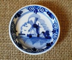 "Vintage Hand Painted Holland Delfts Blue Mini Collector's Plate 2 3/8"" #21"