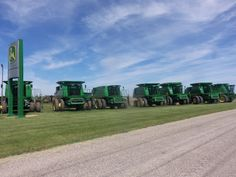 John Deere combines from right to left:9650 STS,9660 STS Bullet Rotor,9760 STS-2 & 3- 9670 STSs