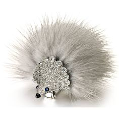 Diamonds, sapphires, onyx, white gold and mink fur porcupine brooch by Marchak