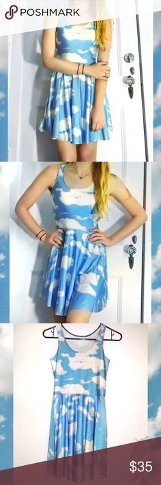 Blackmilk Cloud Skater Dress Dupe ☁️☁️☁️Super rad skater dress. Not Blackmilk and there is no brand. I got this from another posher and it's never been worn by me. Looks maybe worn once so in great condition. No size tag but would say fits a size M best. Polyester. Color is a lighter shade of blue then in the photos. Pics are of actual item. Pretty HTF. #cloudy #kawaii #cute #90s #edc #festival #burningman #rave #retro #skater #grunge Blackmilk Dresses