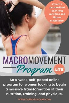 Are you looking for some motivation, but you can't commit to a full coaching program? Macro Movement Lite is an 8-week, self-paced course. You'll get everything you need to create your own year-long nutritional masterplan as well as 8 weeks worth of efficient, muscle-building workouts. Find out more!