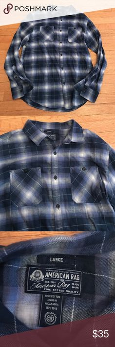 New American Rag blue stripe flannel New American Rag blue stripe flannel. Never worn, one of the softest flannels I have ever touched. Selling because my brother received as a gift and it is not his size American Rag Shirts Casual Button Down Shirts