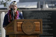 121207-N-KT462-XXX PEARL HARBOR (Dec. 07, 2012) Pearl Harbor survivor Ed Vezey speaks during the USS Oklahoma Memorial Ceremony on Ford Island during the Pearl Harbor Remembrance Day. Vezey was stationed on the USS Oklahoma during the attacks on Pearl Harbor 71 years ago.  Visitors, including Pearl Harbor survivors and other veterans, attended the National Park Service and U.S.  (Photo by MC2 Jon Dasbach)