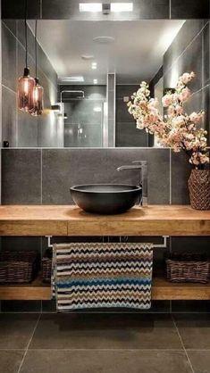 Bathroom Design Inspiration, Bad Inspiration, Design Ideas, Bathroom Design Luxury, Modern Bathroom Design, Home Room Design, House Design, Interior Cladding, Washbasin Design