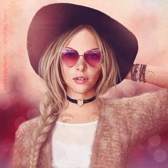 'February'  Valentine's portrait for February's addition to my Calendar Gals series! Heart shaped sunglasses and rosy colors and all!  Painted in Photoshop with a Wacom Cintiq tablet