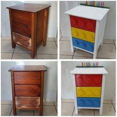 Lego diy dresser before and after Lego Furniture, Repurposed Furniture, Lego Bedroom, Kids Bedroom, Bedroom Decor, Lego Room Decor, Boy Car Room, Big Boy Bedrooms, Deco Originale