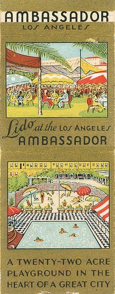 Ambassador Hotel, Los Angeles vintage matchbook