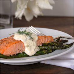 Roasted salmon and asparagus with lemon caper dill aoli