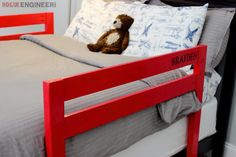 Free plans with detailed step by step photos showing you exactly how to build a wooden DIY toddler bed rail for under $15.