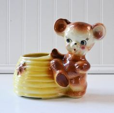 Vintage Bear Planter on Bee Hive  Honey Pot by PeachParlorVintage, $14.00