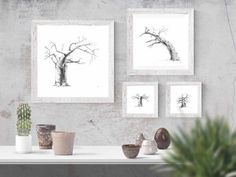 Black and white wall art prints of baobab trees for your living room or bedroom. Visit my Etsy store to shop my range of prints and print sets inspired by African nature.  #baobabtreedecor #africandecorideas #africandecorlivingroomwallart #africandecorbedroom #interiordesignideas   #walldecorideas #walldecorlivingroom #walldecorbedroom #fineartprints #finearthomedecor #printablefineart  #monochromebedroom #monochromelivingroom #minimalisthome #blackandwhitebedroomideas… Tree Wall Art, Wall Art Decor, Wall Art Prints, Fine Art Prints, Black And White Living Room, Black And White Wall Art, Giraffe Drawing, Baobab Tree, Insect Art
