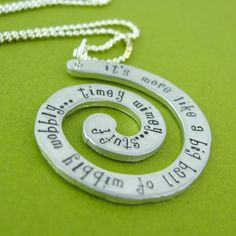 Doctor Who Timey Wimey Necklace - Hand Stamped Doctor Who Quote Necklace.