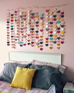 all things DIY: room reveal ~ girl's bedroom on a budget - waterfall of hearts a .all things DIY: room reveal ~ girl's bedroom on a budget - waterfall of hearts DIY Room Decor Room Decor For Teen Girls, Girls Bedroom, Diy Bedroom, Bedroom Ideas, Bedroom Wall, Girl Rooms, Budget Bedroom, Trendy Bedroom, Girls Room Wall Decor